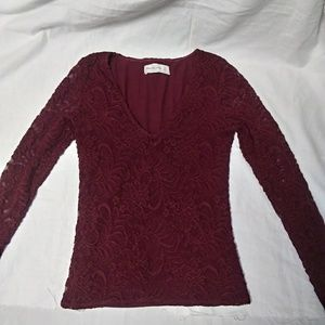 Abercrombie and Fitch Maroon Lace Long Sleeve Top